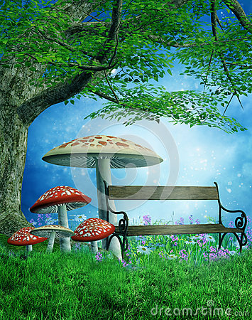 Fantasy park with mushrooms