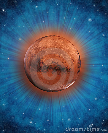 Fantasy Mars planet in space