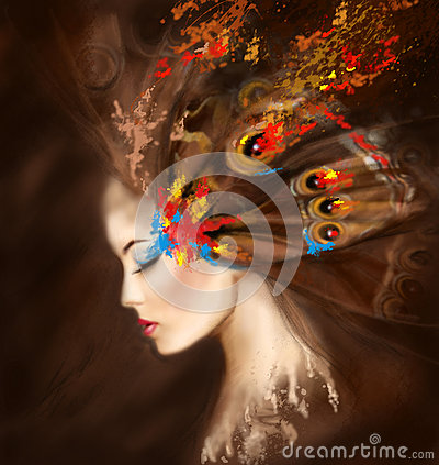 Fantasy Portrait beautiful woman butterfly. Abstract illustration Cartoon Illustration