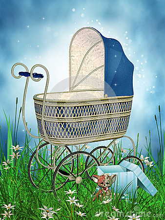 Fantasy pram on a meadow