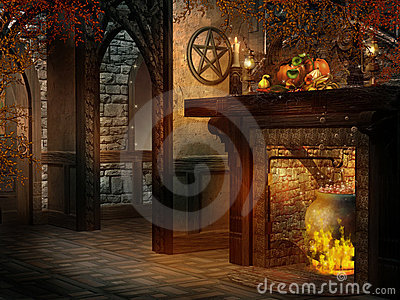 Fantasy room with fireplace and cornucopia