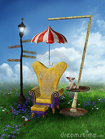 Fantasy scenery with a chair