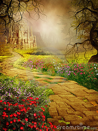 Fantasy scenery with an old castle Stock Photo