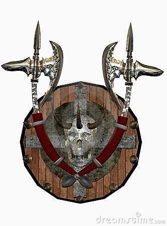 Fantasy shield and axes
