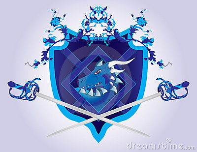 Fantasy shield with a dragon and swords