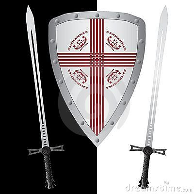 Fantasy shield and swords