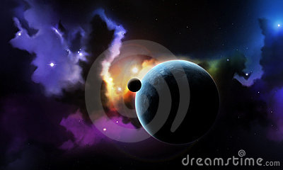 Fantasy space nebula and planet with satellite