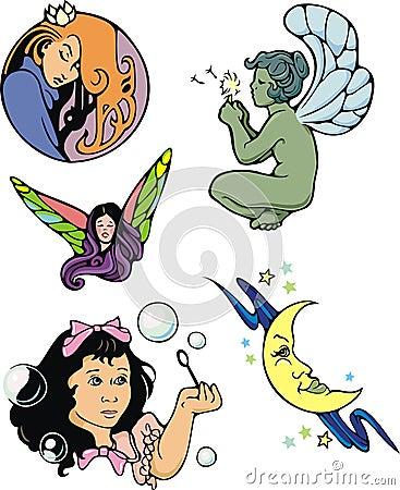 Fantasy spot illustrations