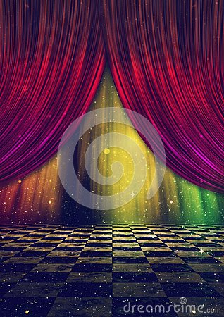 Free Fantasy Stage With Curtains Stock Photography - 114418022
