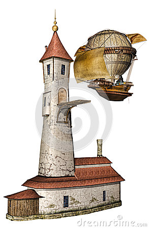Fantasy tower and airship