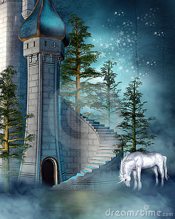 Free Fantasy Tower With A Unicorn Stock Photo - 24111570