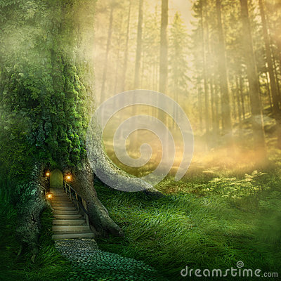 Fantasy Tree House Stock Images Image 35879184