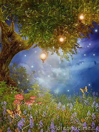 Fantasy tree with lamps