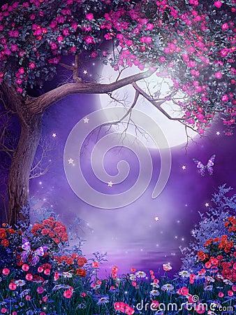 Free Fantasy Tree With Flowers Stock Photos - 17646363