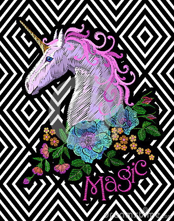 Fantasy unicorn embroidery patch sticker. Pink violet mane horse flower arrange poppy rose on geometric stripe Vector Illustration