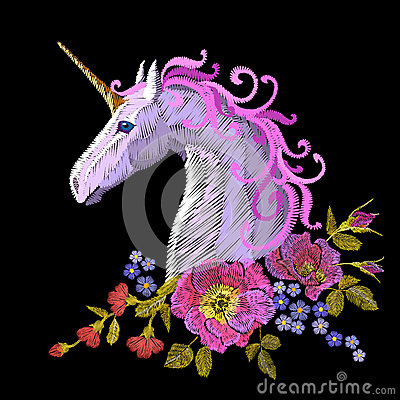 Free Fantasy Unicorn Embroidery Patch Sticker. Pink Violet Mane Horse Flower Arrange Poppy Rose Ornament. Cartoon Badge Magic Royalty Free Stock Images - 90437139