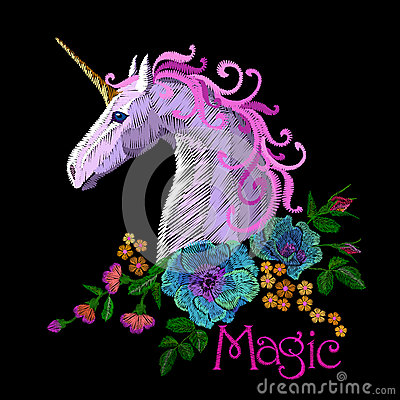 Free Fantasy Unicorn Embroidery Patch Sticker. Pink Violet Mane Horse Flower Arrange Poppy Rose Ornament. Cartoon Badge Magic Stock Photography - 92892112