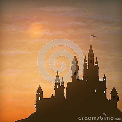 Free Fantasy Vector Castle Moonlight Sky Stock Photos - 42665593