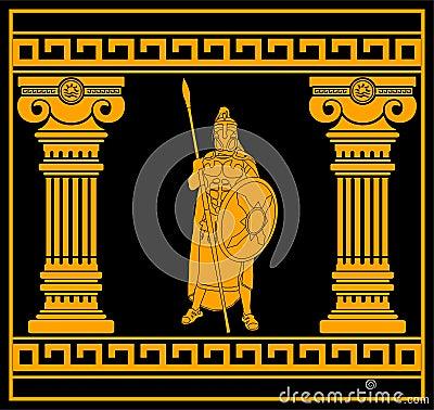 Fantasy warrior with columns