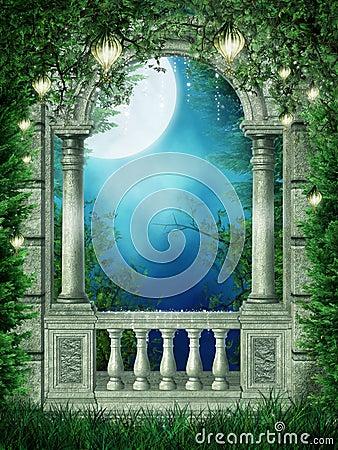 Free Fantasy Window With Lanterns Stock Photography - 18571792