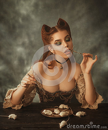 Free Fantasy Woman Cat And Mouse Royalty Free Stock Photos - 91802608