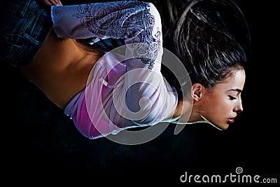 Fantasy woman diveing through the air