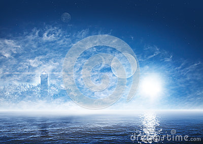Fantasy world with foggy ocean, ghostly lighthouse