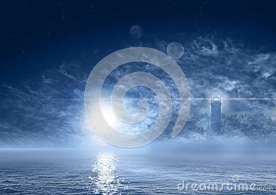 Fantasy world night sea landscape