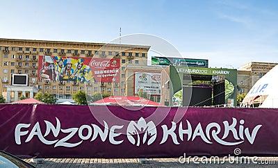 FANZONE in Kharkov, Ukraine. EURO-2012 Editorial Stock Photo