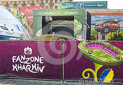 FANZONE in Kharkov, Ukraine. EURO-2012 Editorial Photo