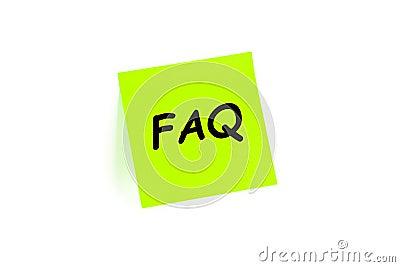 FAQ on a post-it note