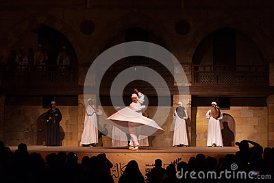 Far White Robe Whirling Dervish Sufi Dance Cairo Editorial Stock Photo