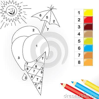 Farbe durch Zahlspiel für Kinder