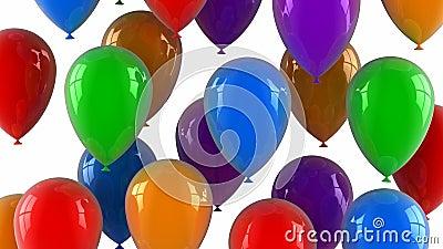 Farbige Ballone fliegen oben