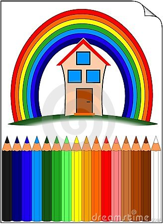 Farbiger Bleistifte Whit Haupt über dem Regenbogen