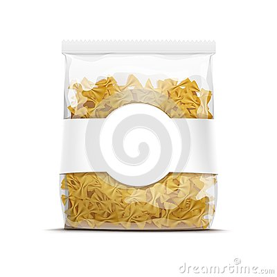 Free Farfalle Bow Tie Pasta Packaging Template Isolated Stock Image - 46609231