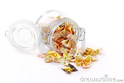 Farfalle pasta in a jar