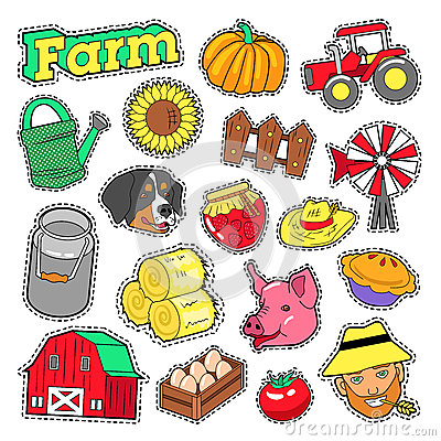 Free Farm Agricultural Elements Set With Farmer, Harvest And Animals For Stickers, Prints Royalty Free Stock Image - 87264236