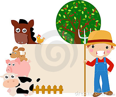 Farm animal and boy