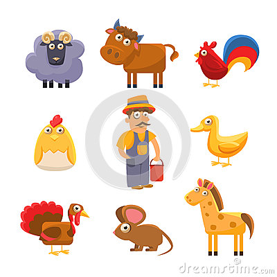 Free Farm Animal Collection. Colourful Vector Royalty Free Stock Images - 64410279
