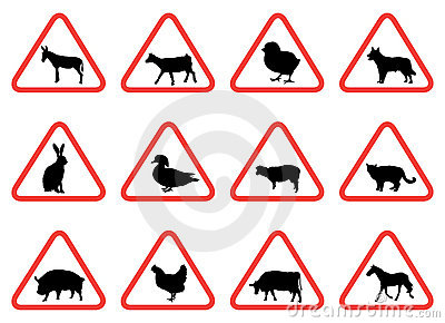 Farm animal warning signs