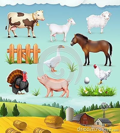 Free Farm, Animals And Birds Royalty Free Stock Image - 66533776