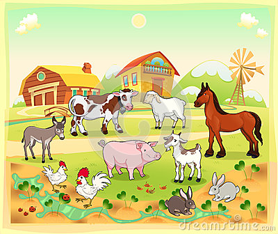 Farm animals with background