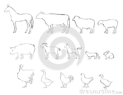 Stock Photo Farm Animals Collection Hand Drawn Illustration Set Livestock Horse Cow Chicken Cock Goat Hen Image34960470 on Audio Production Group