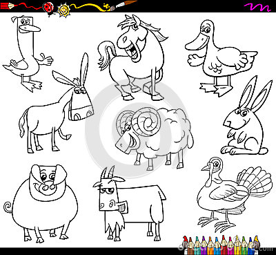 Farm Animals Coloring Book Stock Vector Image 58487069