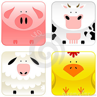 Free Farm Animals - Icon Set 1 Stock Image - 8523161