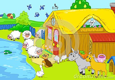 Farm and animals near lake. Children illustration.