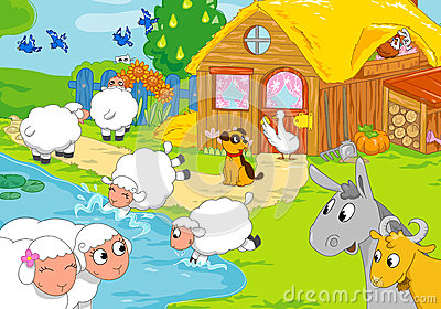 Farm and animals near lake. Digital illustration.