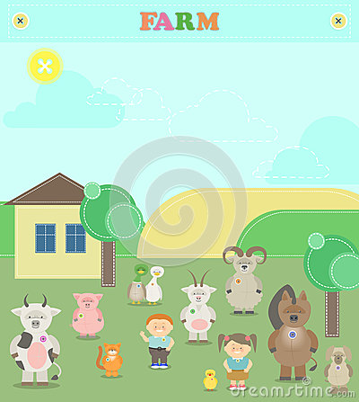 Farm animals. Plush animals. Illustration of a farm with animals Vector Illustration