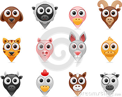 Farm animals pointer icons